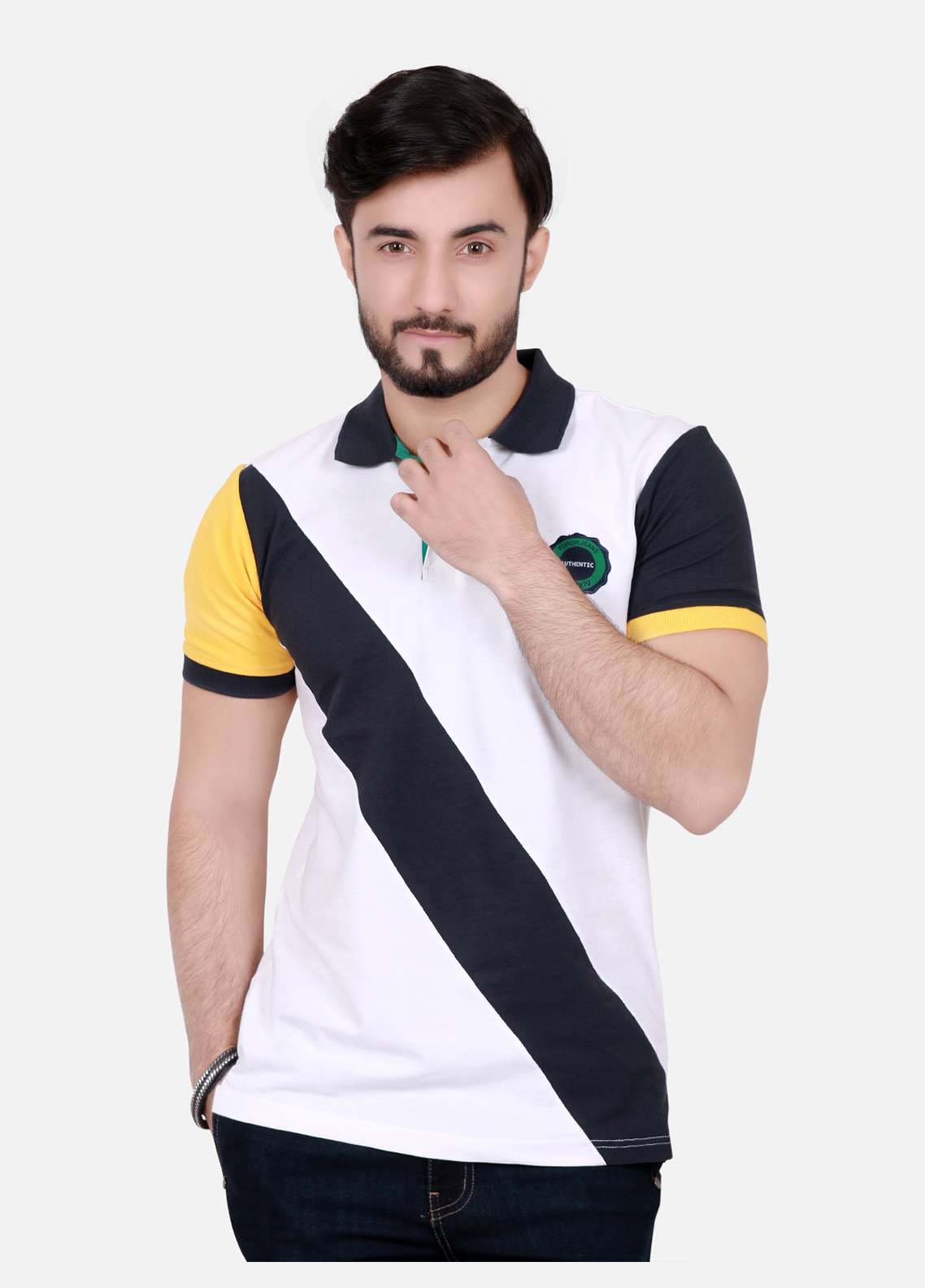 Furor Cotton Polo T-Shirts for Men - Off White FRM18PS 003