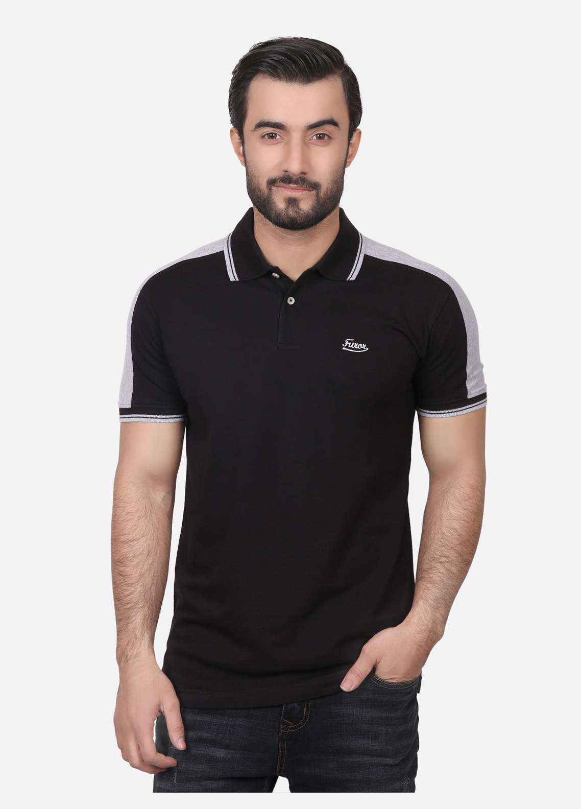 Furor Cotton Polo T-Shirts for Men - Black FRM18PS 024