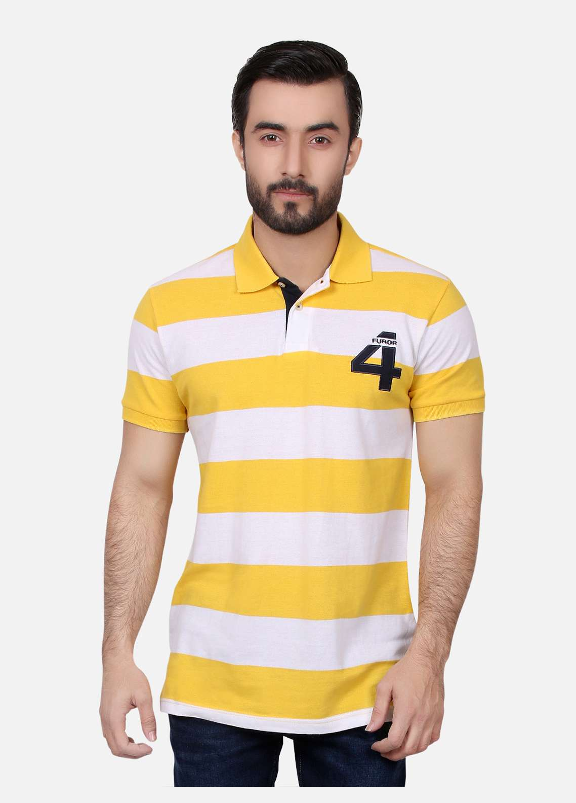 Furor Cotton Polo Men T-Shirts - Yellow FRM18PS 025