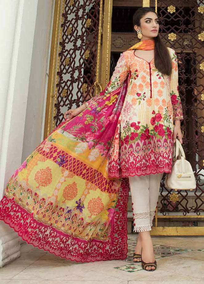 Farah Talib By LSM Embroidered Lawn Unstitched 3 Piece Suit FT17E 5A
