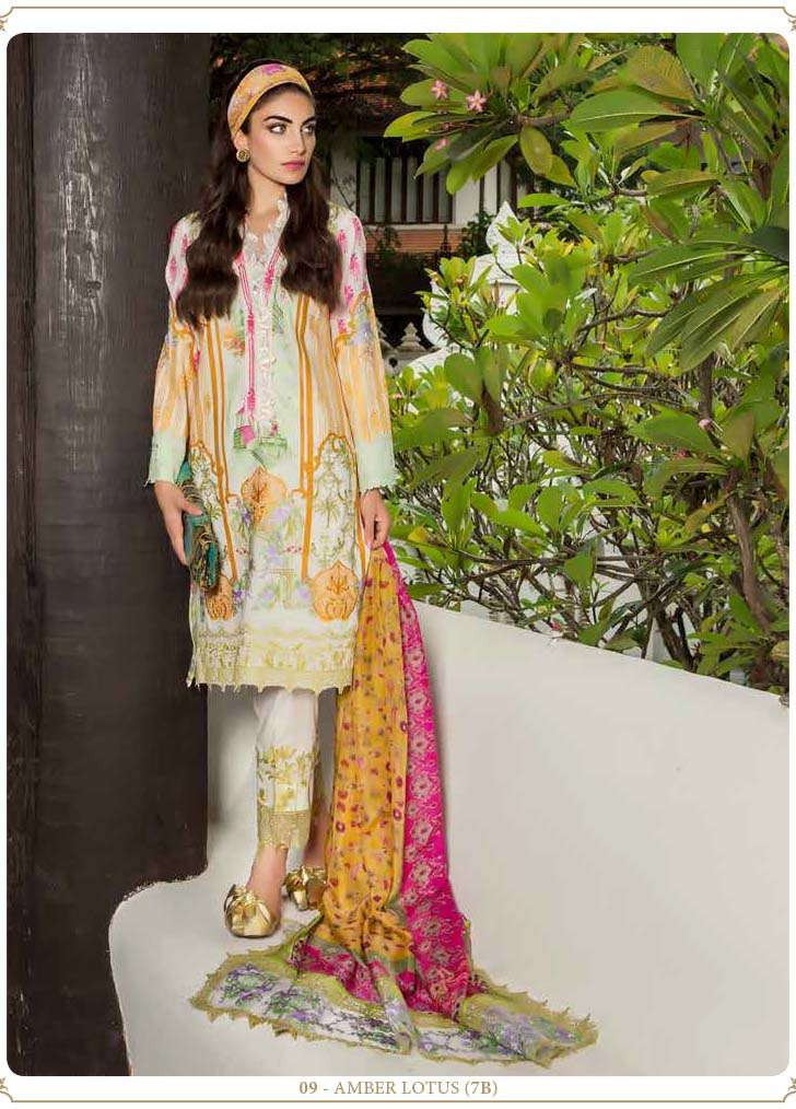 Farah Talib By LSM Embroidered Lawn Unstitched 3 Piece Suit FT17E 7B