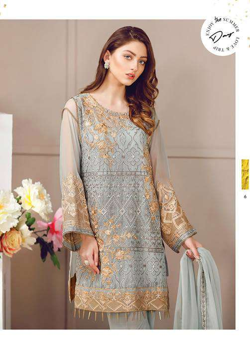 Baroque Embroidered Chiffon Unstitched 3 Piece Suit FU17E2 02