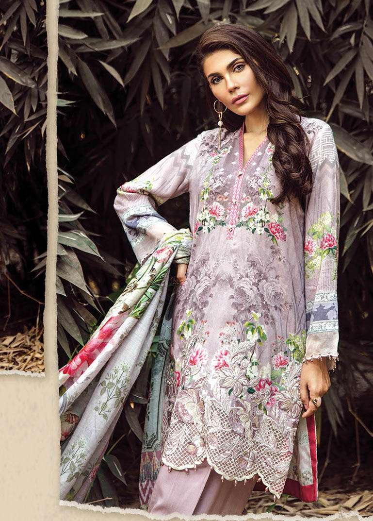 Baroque Embroidered Linen Unstitched 3 Piece Suit FU17W 07