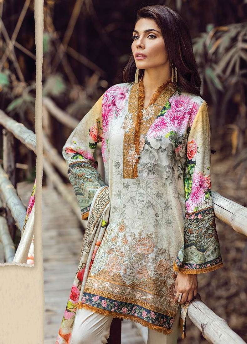 Baroque Embroidered Linen Unstitched 3 Piece Suit FU17W 08
