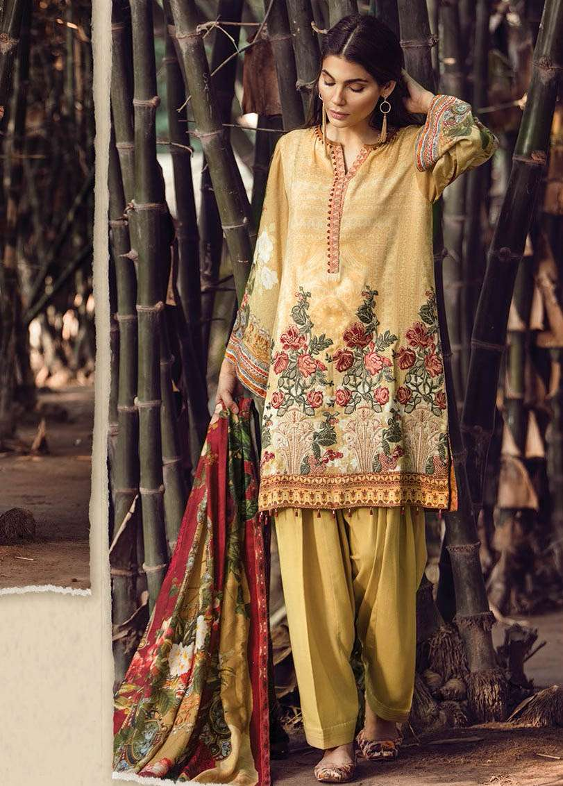 Baroque Embroidered Linen Unstitched 3 Piece Suit FU17W 09