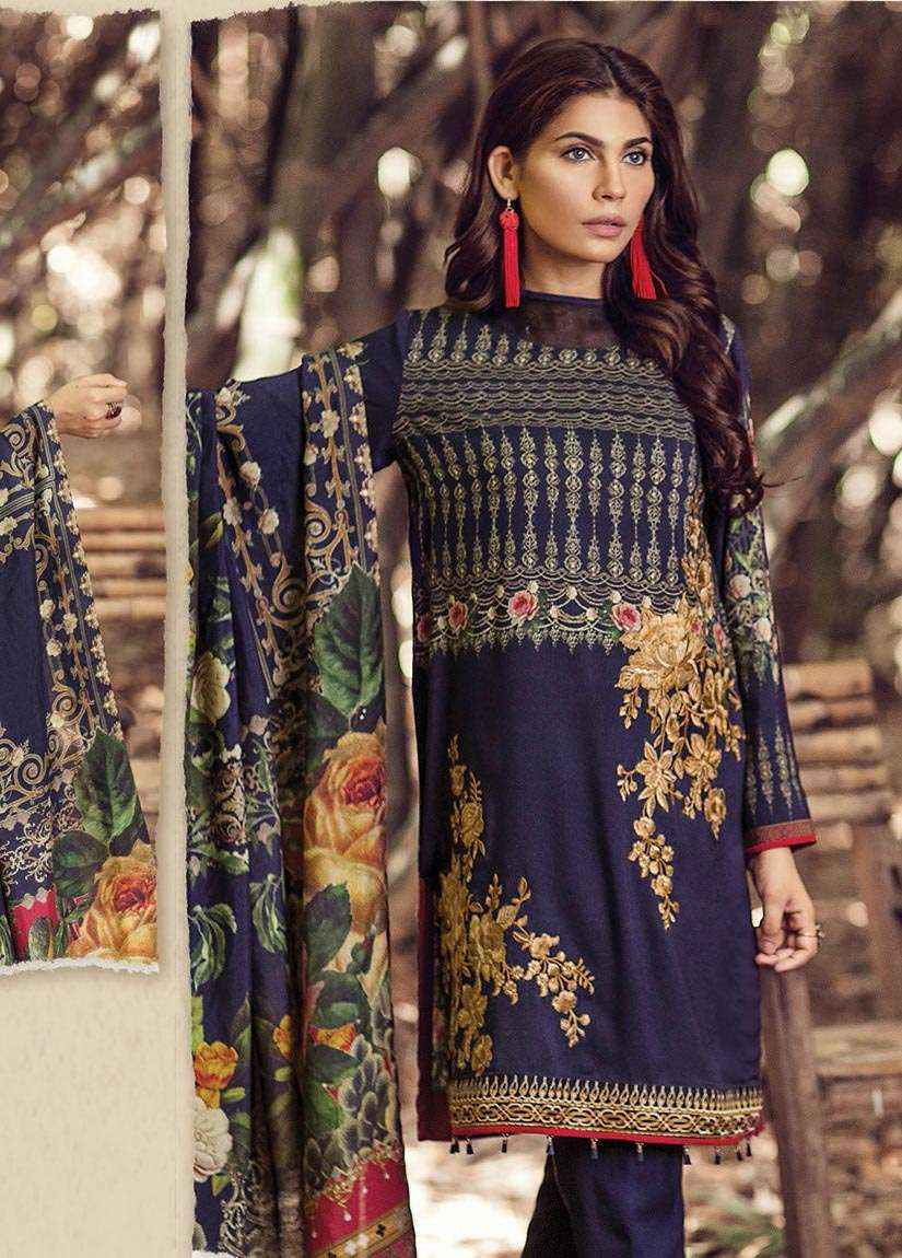 Baroque Embroidered Linen Unstitched 3 Piece Suit FU17W 10