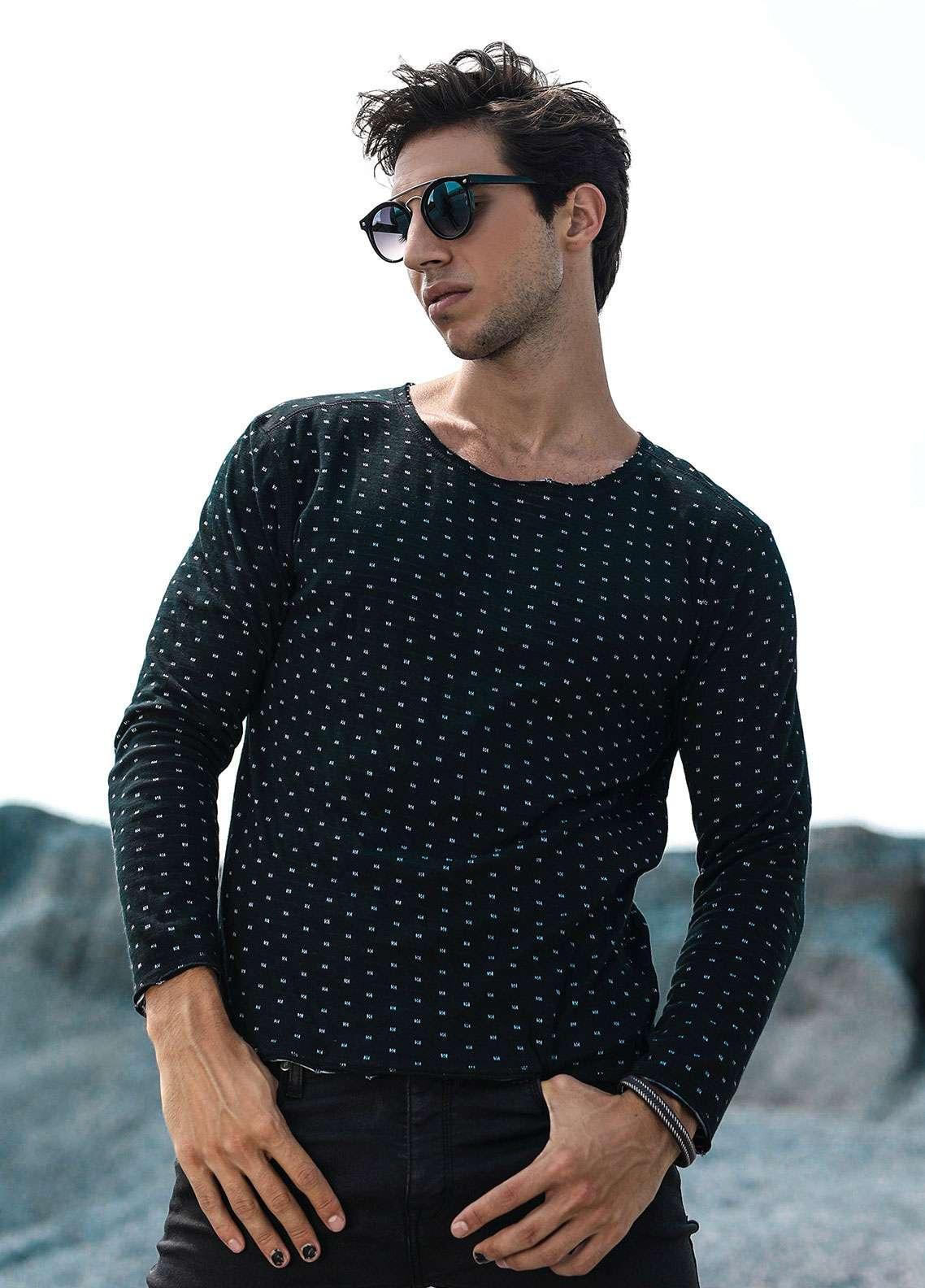 Furor Jersey Casual Sweatshirts for Men - Black 017221