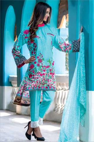 ZS Textile Embroidered Lawn Unstitched 3 Piece Suit FV17L 01
