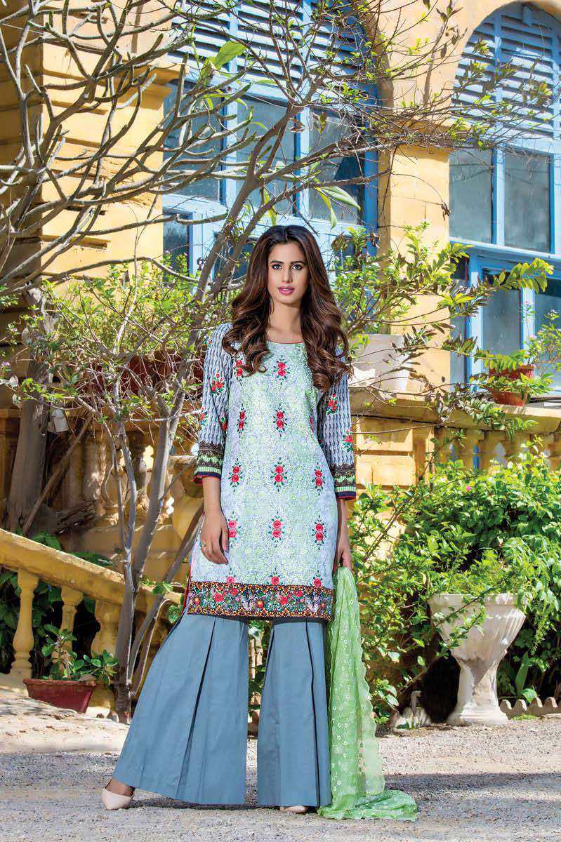 ZS Textile Embroidered Lawn Unstitched 3 Piece Suit FV17L 12