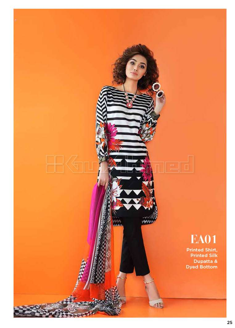 Gul Ahmed Embroidered Lawn Unstitched 3 Piece Suit GA17E2 EA01