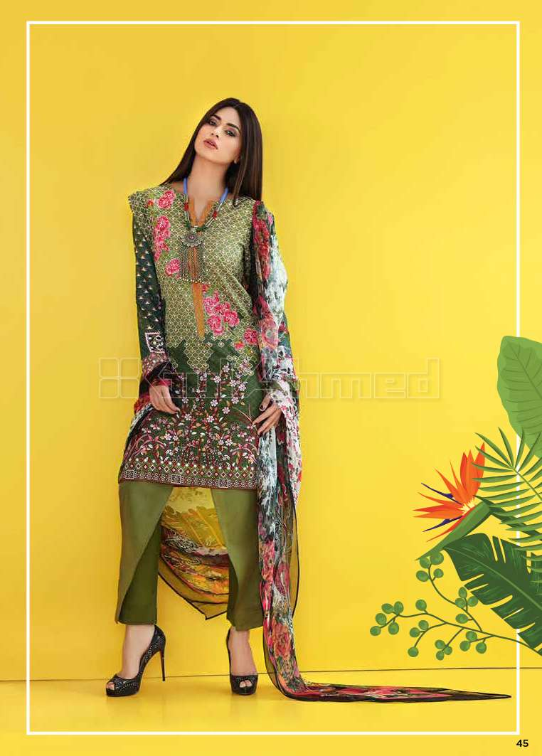 Gul Ahmed Embroidered Lawn Unstitched 3 Piece Suit GA17E2 EA02
