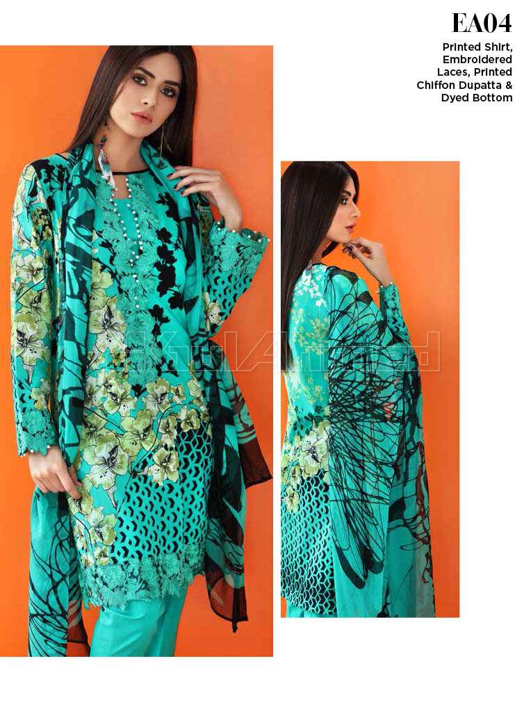 Gul Ahmed Embroidered Lawn Unstitched 3 Piece Suit GA17E2 EA04