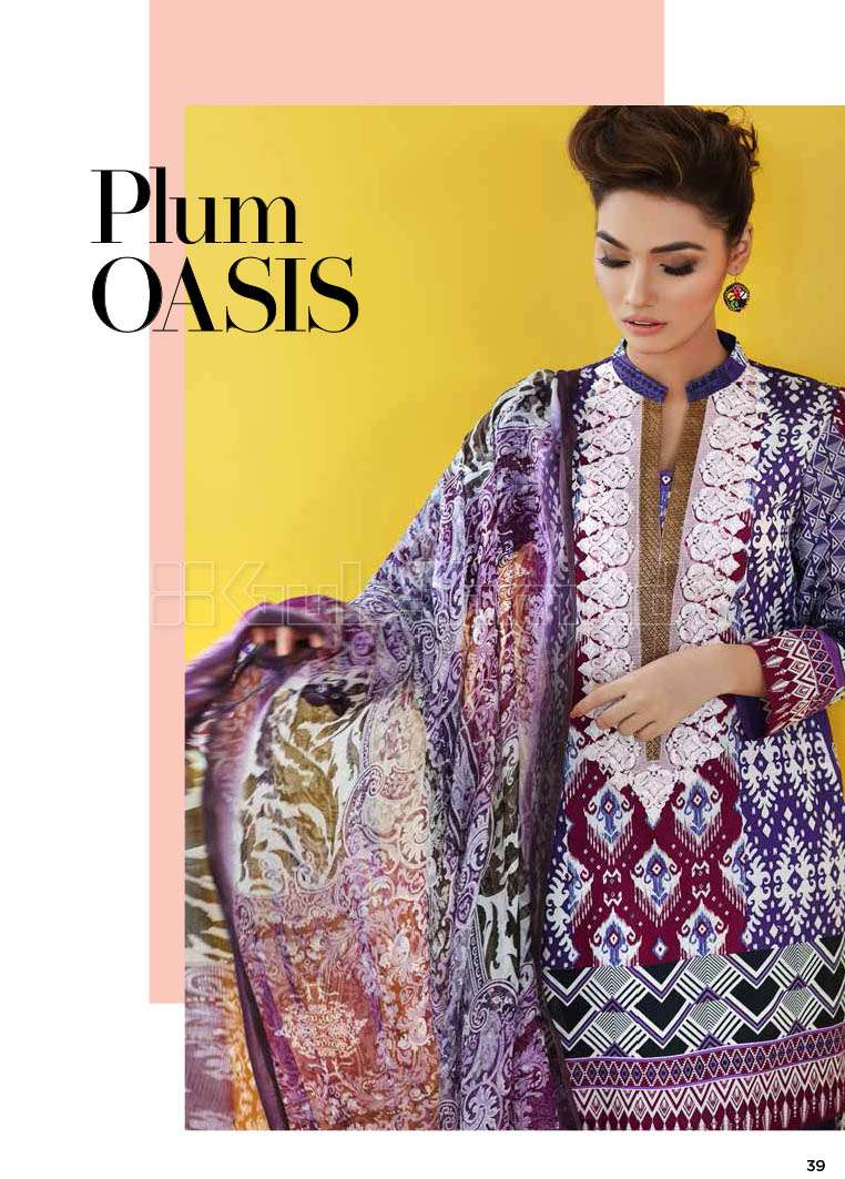 Gul Ahmed Embroidered Lawn Unstitched 3 Piece Suit GA17E2 EA07