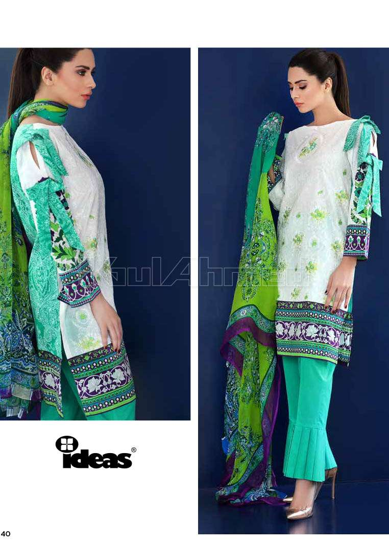 Gul Ahmed Embroidered Lawn Unstitched 3 Piece Suit GA17E2 EA09