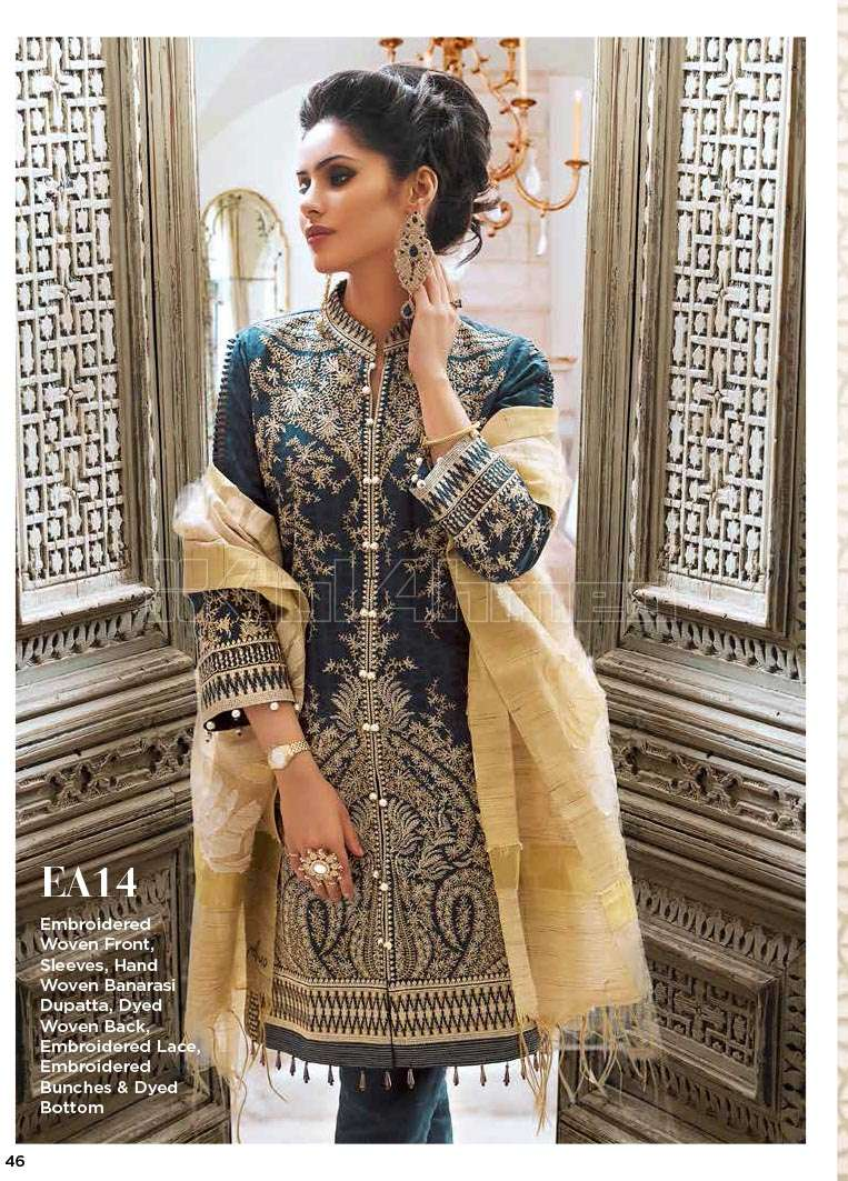 Gul Ahmed Embroidered Lawn Unstitched 3 Piece Suit GA17E2 EA14