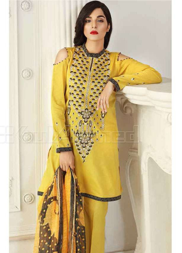 Gul Ahmed Embroidered Lawn Unstitched 3 Piece Suit GA17E2 EA17
