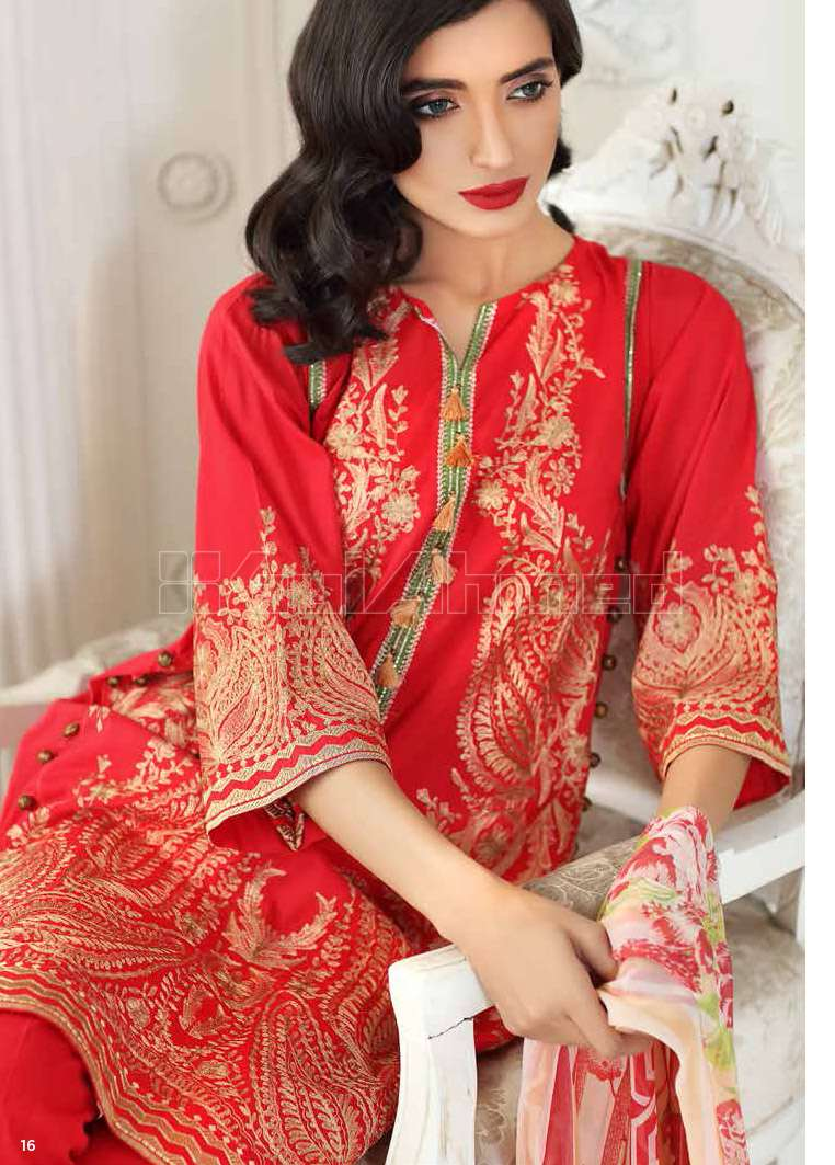 Gul Ahmed Embroidered Cotton Silk Unstitched 3 Piece Suit GA17E2 EA19