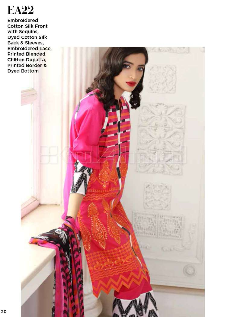 Gul Ahmed Embroidered Cotton Silk Unstitched 3 Piece Suit GA17E2 EA22