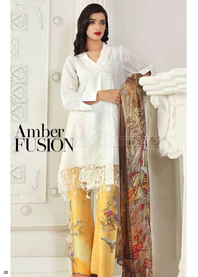 Gul Ahmed Embroidered Lawn Unstitched 3 Piece Suit GA17E2 EA25