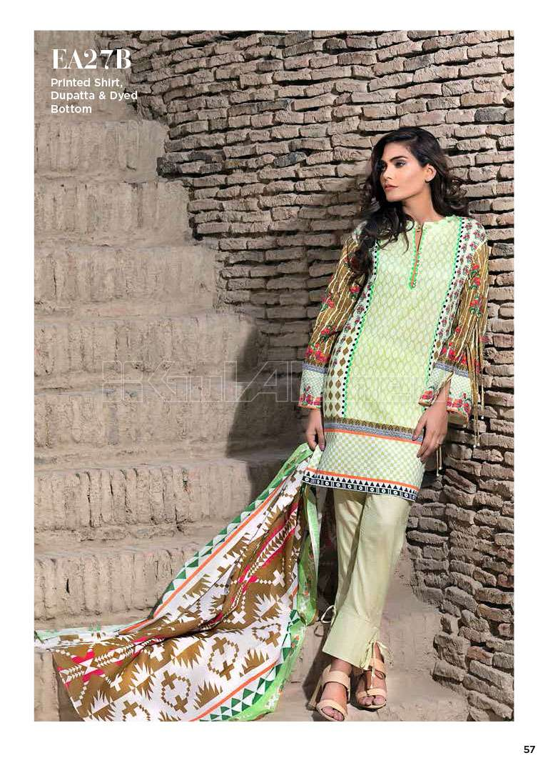 Gul Ahmed Printed Lawn Unstitched 3 Piece Suit GA17E2 EA27B