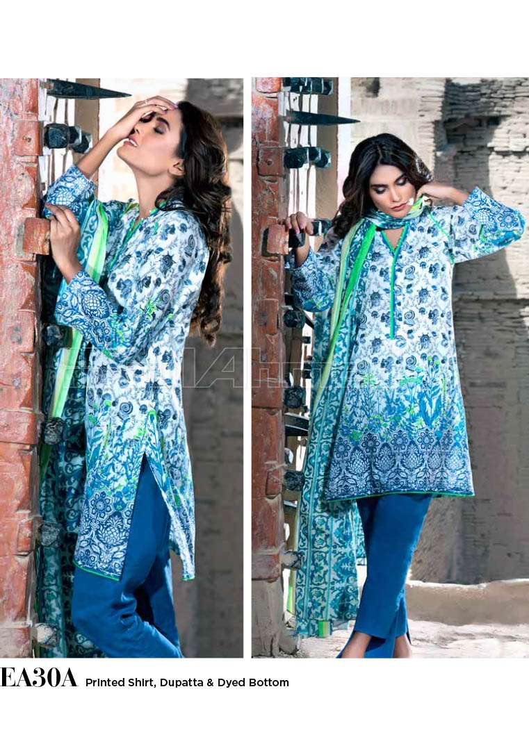 Gul Ahmed Printed Lawn Unstitched 3 Piece Suit GA17E2 EA30A