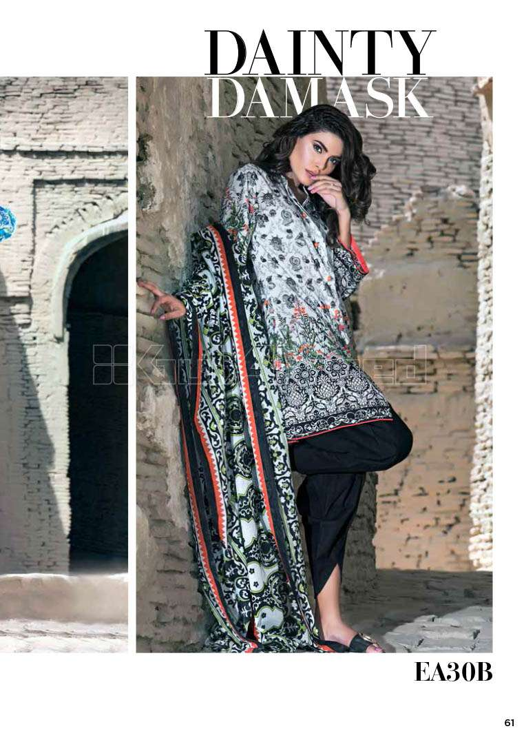 Gul Ahmed Printed Lawn Unstitched 3 Piece Suit GA17E2 EA30B