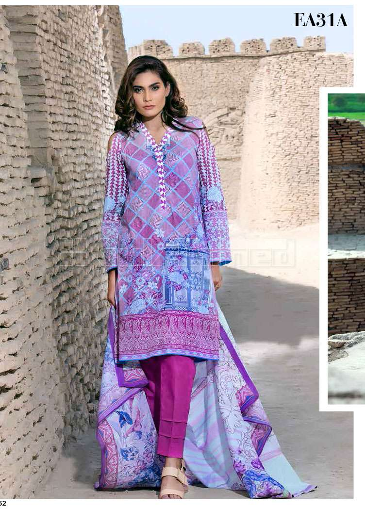 Gul Ahmed Printed Lawn Unstitched 3 Piece Suit GA17E2 EA31A