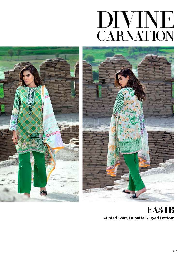 Gul Ahmed Printed Lawn Unstitched 3 Piece Suit GA17E2 EA31B