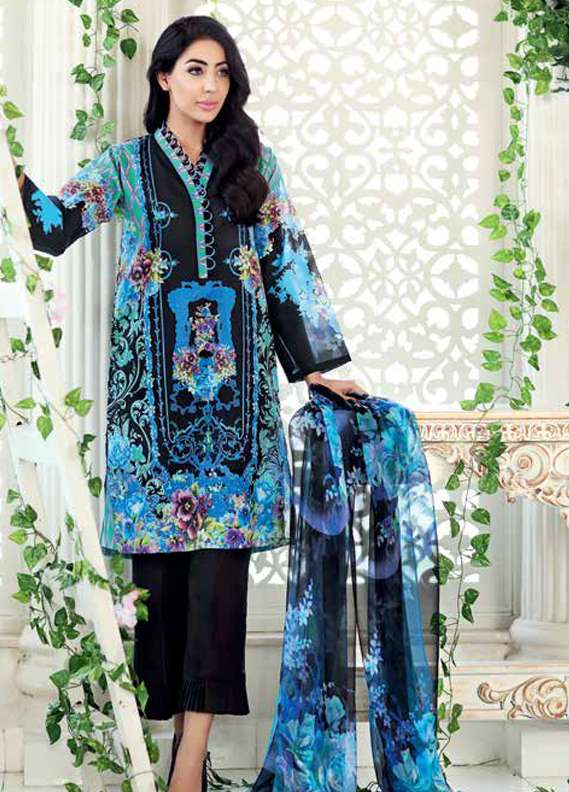 Gul Ahmed Printed Lawn Unstitched 3 Piece Suit GA18L AS-11 - Premium Collection