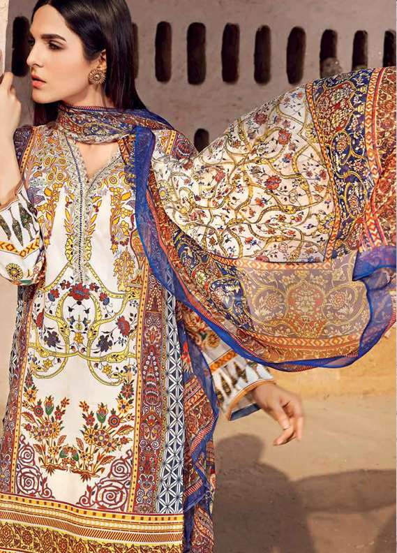 Gul Ahmed Printed Lawn Unstitched 3 Piece Suit GA18L AS-12 - Premium Collection