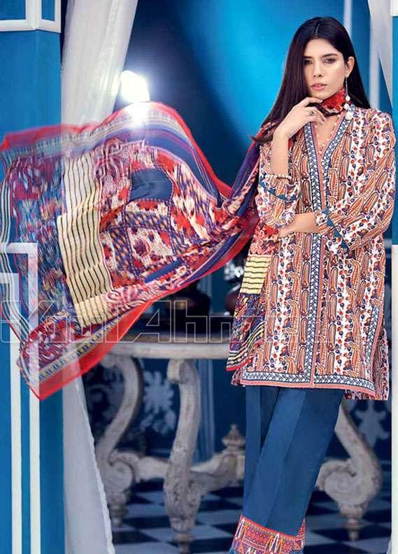 Gul Ahmed Printed Lawn Unstitched 3 Piece Suit GA18L BM-50 - Premium Collection