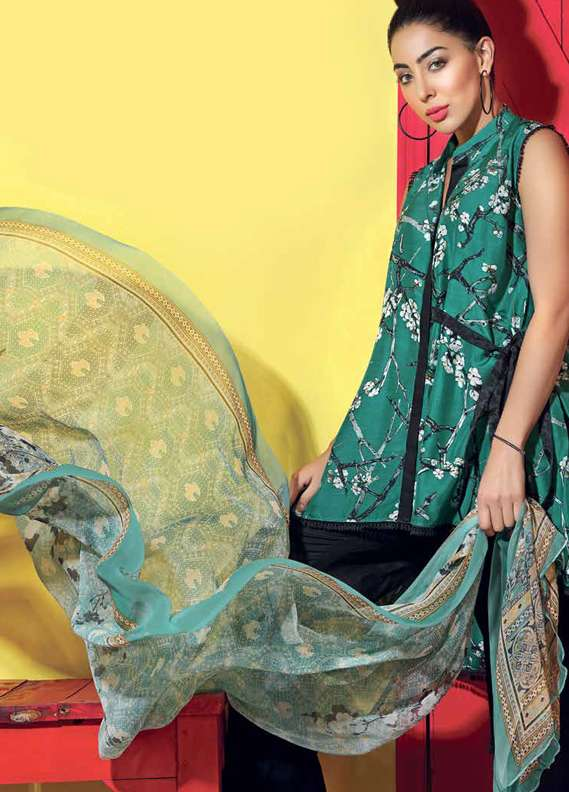 Gul Ahmed Printed Lawn Unstitched 3 Piece Suit GA18L BS-14 - Premium Collection