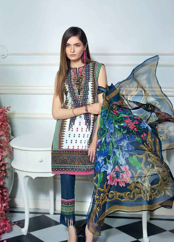 Gul Ahmed Embroidered Lawn Unstitched 3 Piece Suit GA18L C-484 - Premium Collection