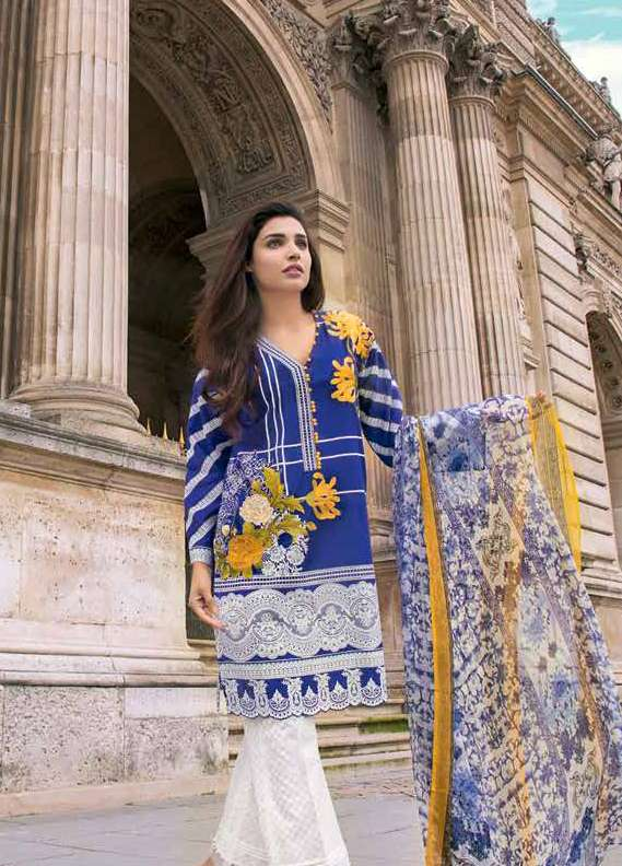 Gul Ahmed Embroidered Lawn Unstitched 3 Piece Suit GA18L C-486 - Premium Collection