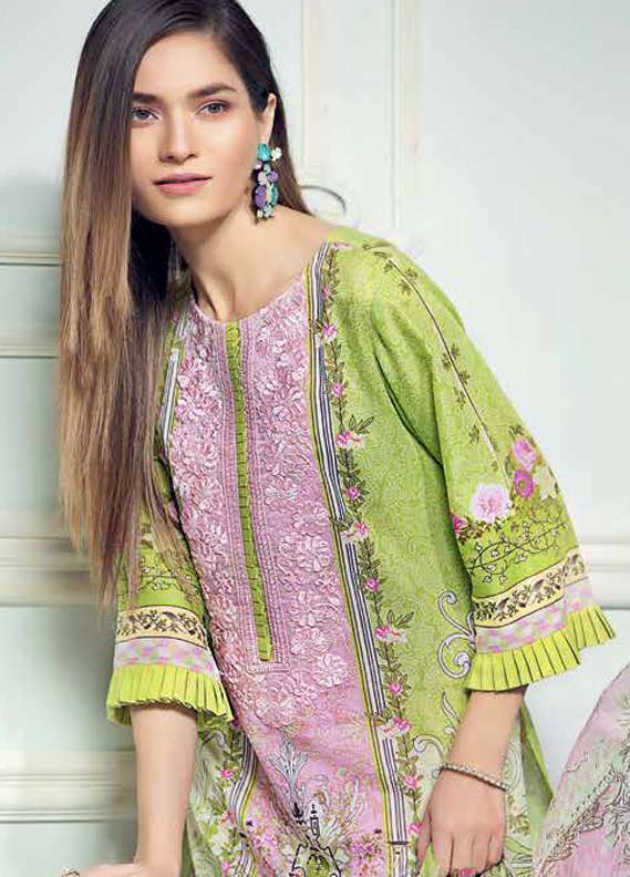 Gul Ahmed Embroidered Lawn Unstitched 3 Piece Suit GA18L C-489 - Premium Collection