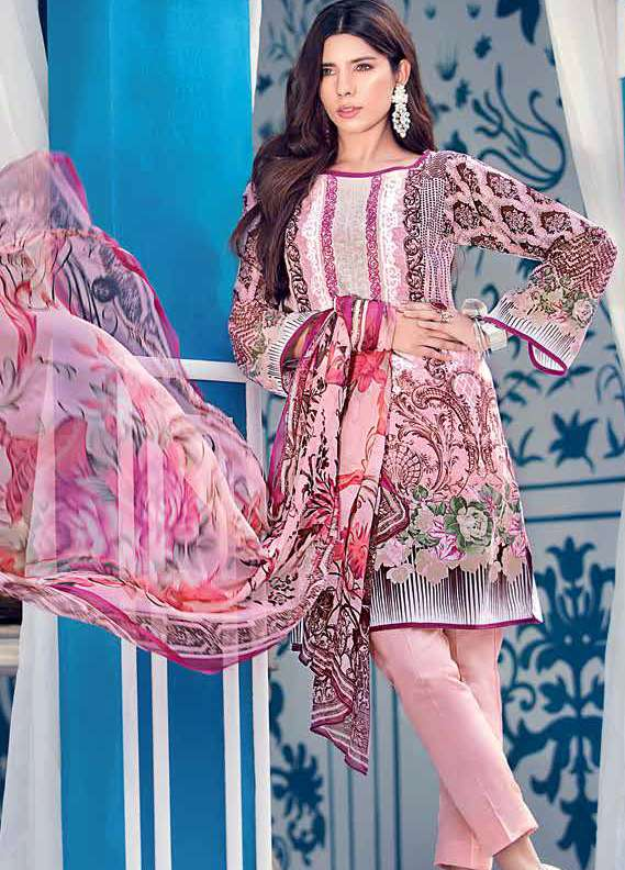 Gul Ahmed Embroidered Lawn Unstitched 3 Piece Suit GA18L C-490 - Premium Collection