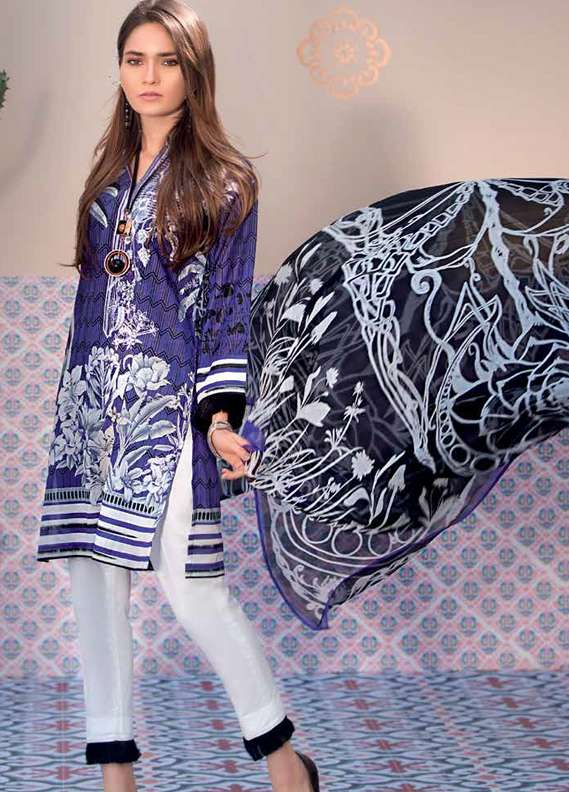 Gul Ahmed Embroidered Lawn Unstitched 3 Piece Suit GA18L C-492 - Premium Collection