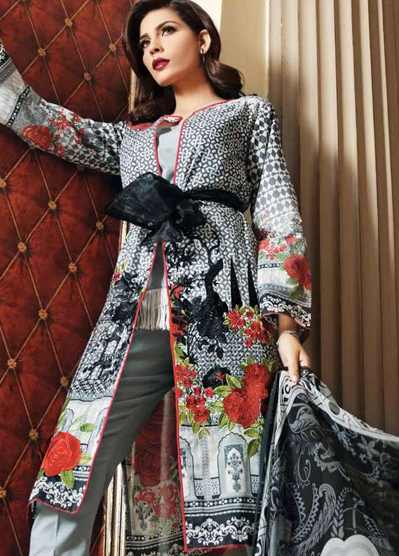 Gul Ahmed Embroidered Lawn Unstitched 3 Piece Suit GA18L C-494 - Premium Collection