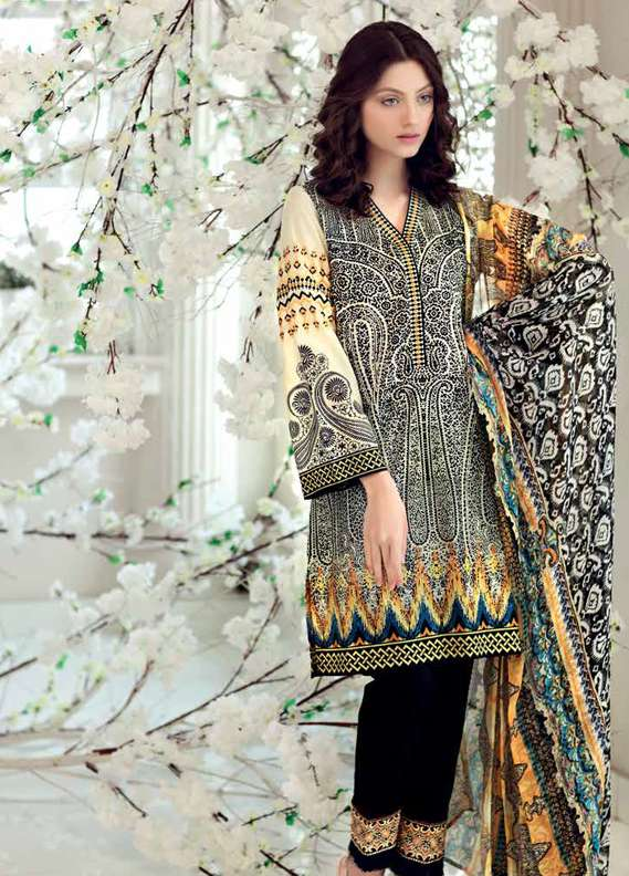 Gul Ahmed Embroidered Lawn Unstitched 3 Piece Suit GA18L C-495 - Premium Collection