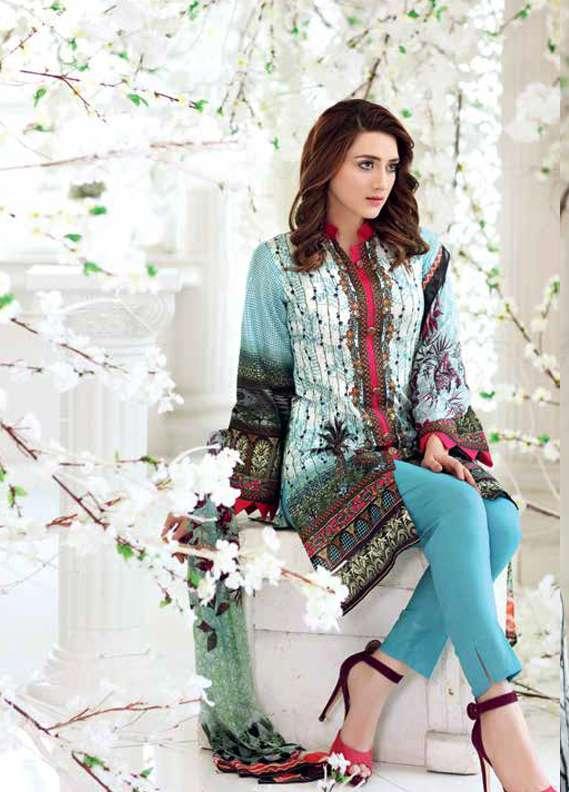Gul Ahmed Printed Lawn Unstitched 3 Piece Suit GA18L C-496 - Premium Collection