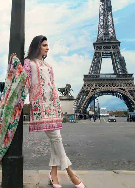 Gul Ahmed Embroidered Lawn Unstitched 3 Piece Suit GA18L C-498 - Premium Collection