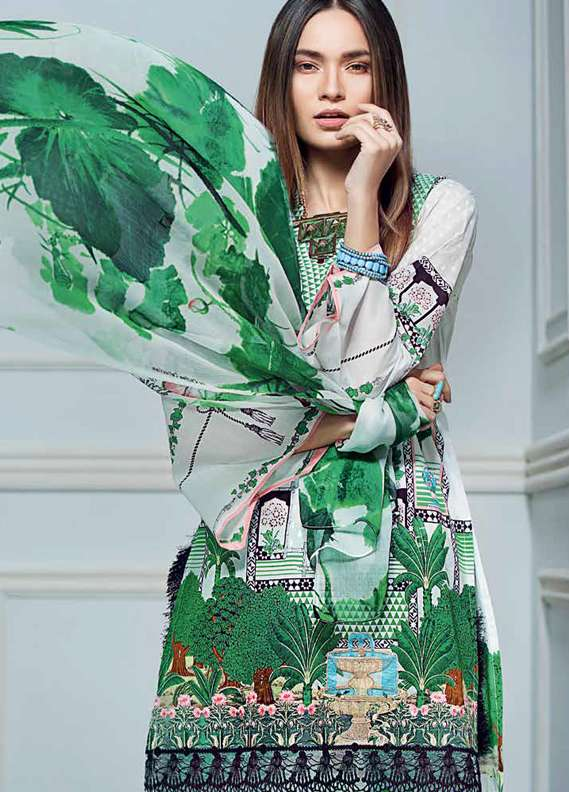Gul Ahmed Embroidered Lawn Unstitched 3 Piece Suit GA18L C-500 - Premium Collection