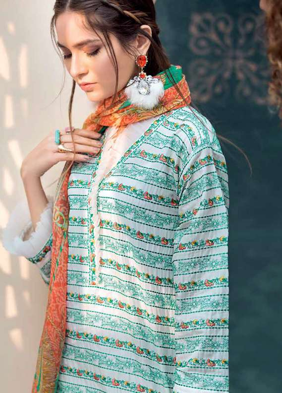 Gul Ahmed Embroidered Lawn Unstitched 3 Piece Suit GA18L C-505 - Premium Collection
