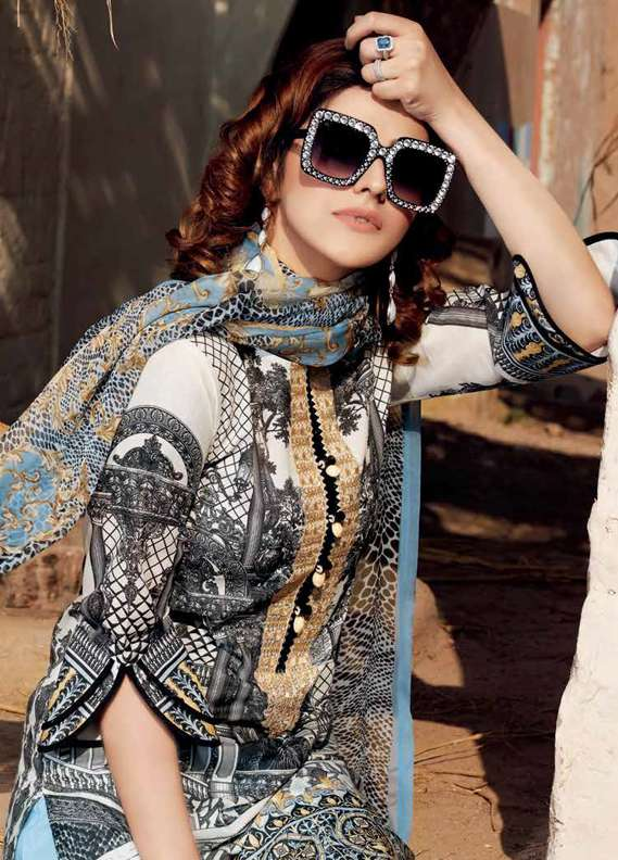 Gul Ahmed Embroidered Lawn Unstitched 3 Piece Suit GA18L C-506 - Premium Collection