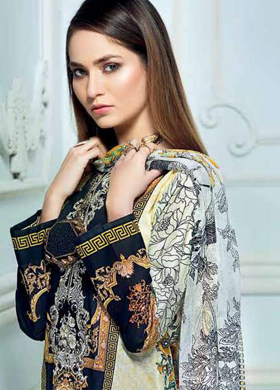 Gul Ahmed Embroidered Lawn Unstitched 3 Piece Suit GA18L C-507 - Premium Collection