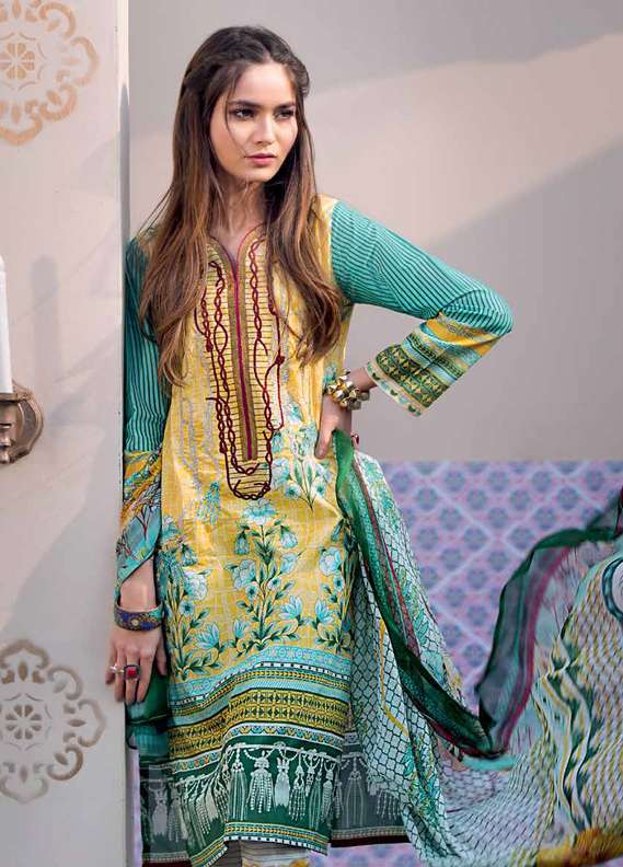Gul Ahmed Embroidered Lawn Unstitched 3 Piece Suit GA18L C-510 - Premium Collection