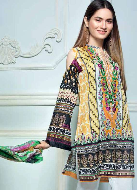 Gul Ahmed Embroidered Lawn Unstitched 3 Piece Suit GA18L C-512 - Premium Collection