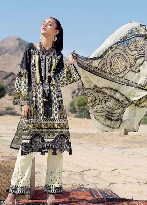 Gul Ahmed Embroidered Lawn Unstitched 3 Piece Suit GA18L C-520 - Premium Collection