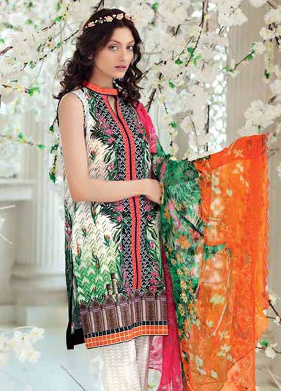 Gul Ahmed Printed Lawn Unstitched 3 Piece Suit GA18L CT-242 - Premium Collection
