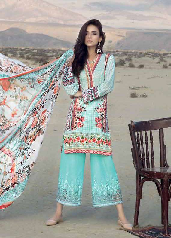Gul Ahmed Embroidered Lawn Unstitched 3 Piece Suit GA18L CT-243 - Premium Collection
